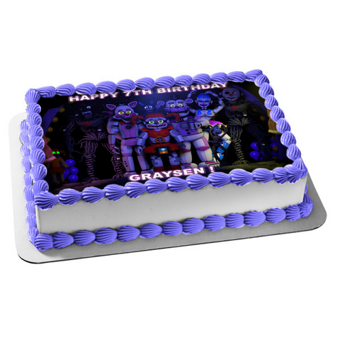 Five Nights at Freddy's Sister Location Ennard Circus Baby Funtime Foxy Ballora Funtime Freddy Funtime Lolbit Edible Cake Topper Image ABPID08194