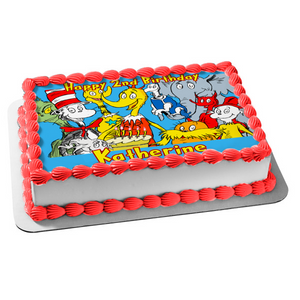 Dr. Seuss Horton Hears a Who the Cat In the Hat the Lorax Cake Edible Cake Topper Image ABPID07288