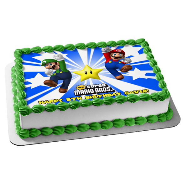New Super Mario Brothers Luigi Yellow Star Edible Cake Topper Image ABPID07154