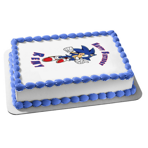Sonic the Hedgehog White Background Edible Cake Topper Image ABPID06459