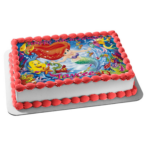 Disney the Little Mermaid Flounder Sebastian Ariel Starfish Seahorse Edible Cake Topper Image ABPID05768