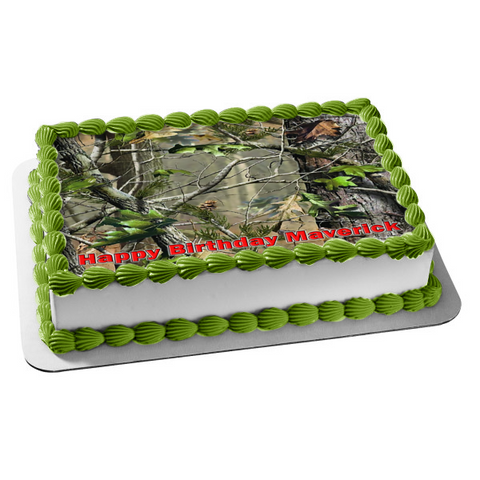 Mossy Oak Camo Camouflage Real Tree Apg Leaves Edible Cake Topper Image ABPID04106