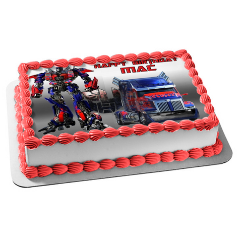 Transformers Optimus Prime and Truck Convoy Edible Cake Topper Image ABPID03716