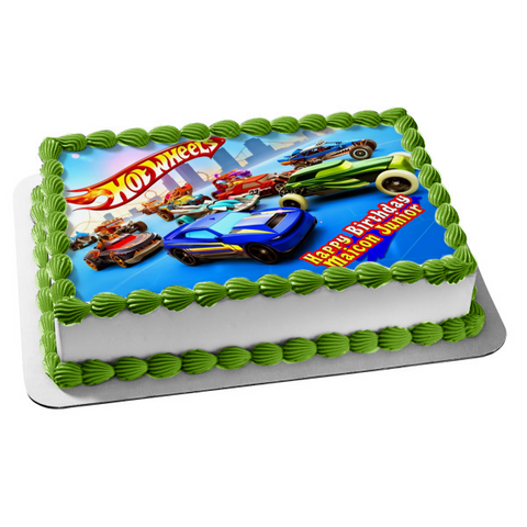 Hot Wheels Logo Race Cars Trucks Edible Cake Topper Image ABPID03680