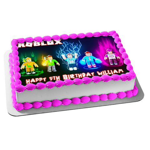 Roblox Assorted Skin Colors Yellow Green Blue Purple Edible Cake Topper Image ABPID15025