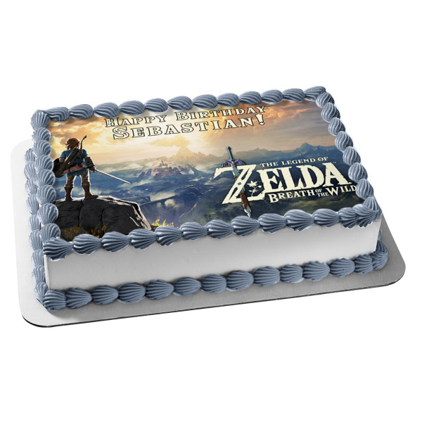 The Legend of Zelda Breath of the Wild Link Mountain Top Sword Hyrule Edible Cake Topper Image ABPID22348