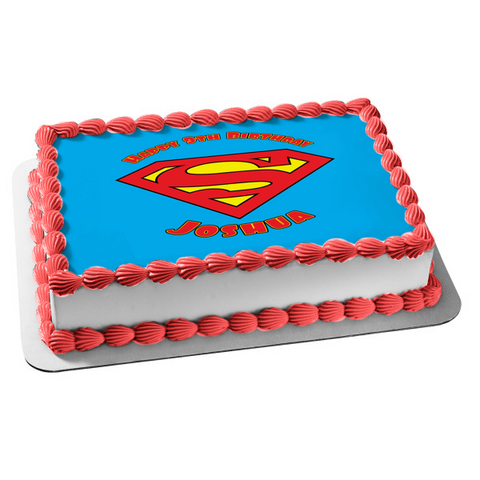 DC Comics Superman Logo Blue Background Edible Cake Topper Image ABPID24358