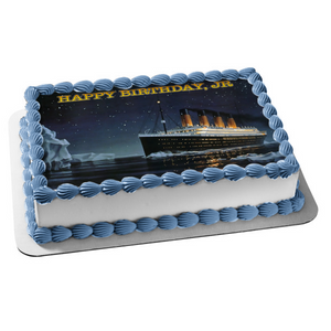 The Titanic Ship Icebergs Starry Sky Background Edible Cake Topper Image ABPID27352