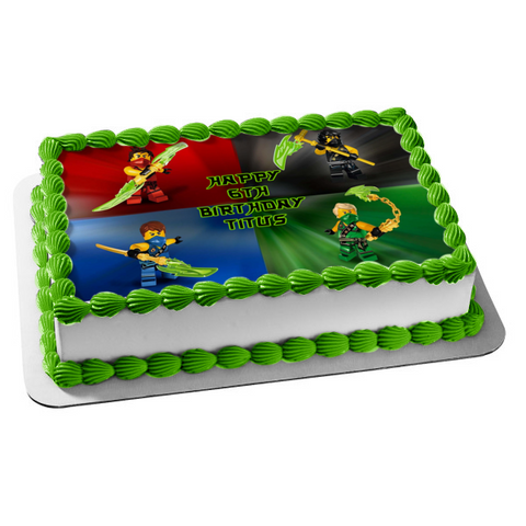 LEGO Ninjago Tournament Lloyd Kai Jay Cole Edible Cake Topper Image ABPID27542