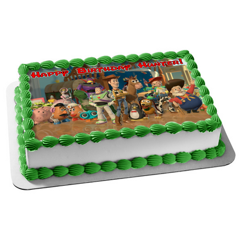 Disney Pixar Toy Story Woody Buzz Lightyear Slinky Jesse Rex Hamm Bo Peep Mr. Potato Head Mrs. Potato Head Aliens Edible Cake Topper Image ABPID50505