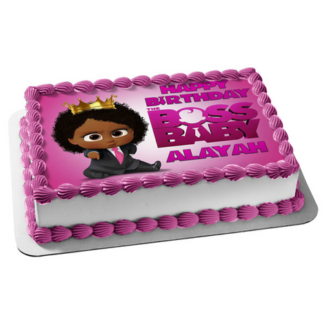 Happy Birthday African American Boss Baby Birl Personalized Name Edible Cake Topper Image ABPID51025