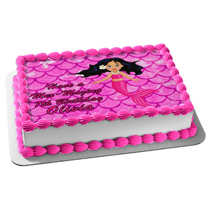 Mermaid Pink Scales Background Edible Cake Topper Image ABPID51075