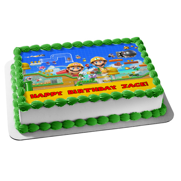 Super Mario Maker 2 Luigi and Mario Personalizable Video Game Edible Cake Topper Image ABPID52760