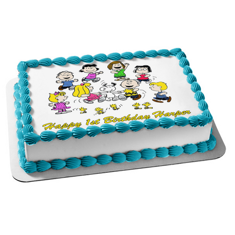 Peanuts Charlie Brown Snoopy Linus Lucy Sally Peppermint Patty Woodstock Edible Cake Topper Image ABPID52201