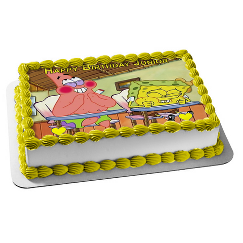 Spongebob Squarepants Patrick School Desks Laughing Edible Cake Topper Image ABPID22154