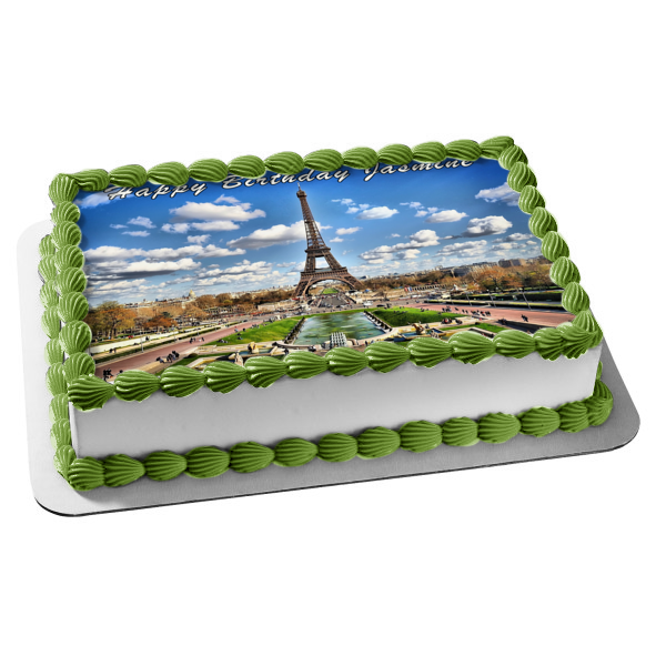 Eiffel Tower Bonjour Paris France Sky Clouds Edible Cake Topper Image ABPID04413