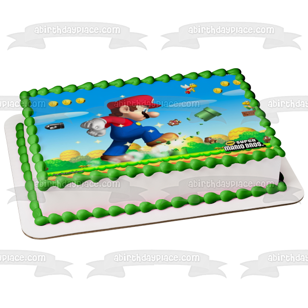 Super Mario Brothers Yoshi Coins Mushrooms Edible Cake Topper Image ABPID06385
