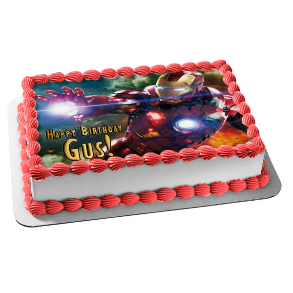 Marvel Iron Man Flying Dark Clouds Background Edible Cake Topper Image ABPID06567