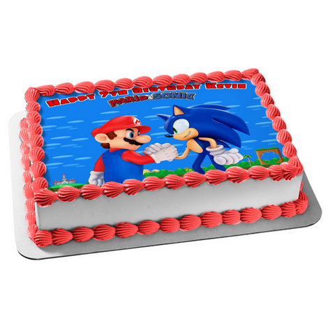 Super Mario Sonic the Hedgehog Shaking Hands Edible Cake Topper Image ABPID27464