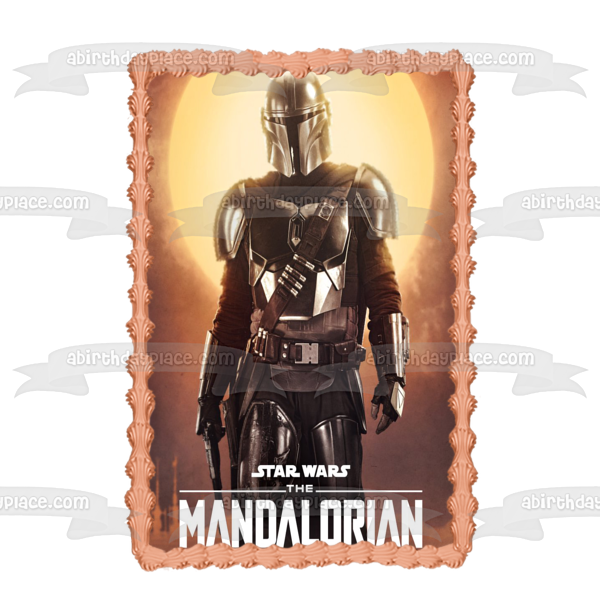 Disney Star Wars The Mandalorian Bounty Hunter Boba Fett Edible Cake Topper Image ABPID50519