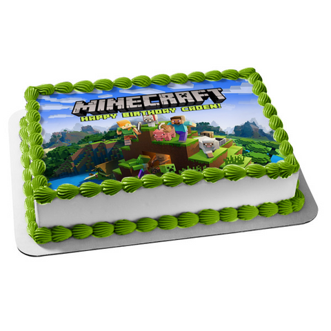 Minecraft Steve Creepers Pig Dog Mountains Edible Cake Topper Image ABPID51089