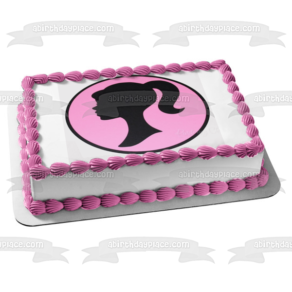 Mattel Barbie Silhouette Pink Background Edible Cake Topper Image ABPID22340