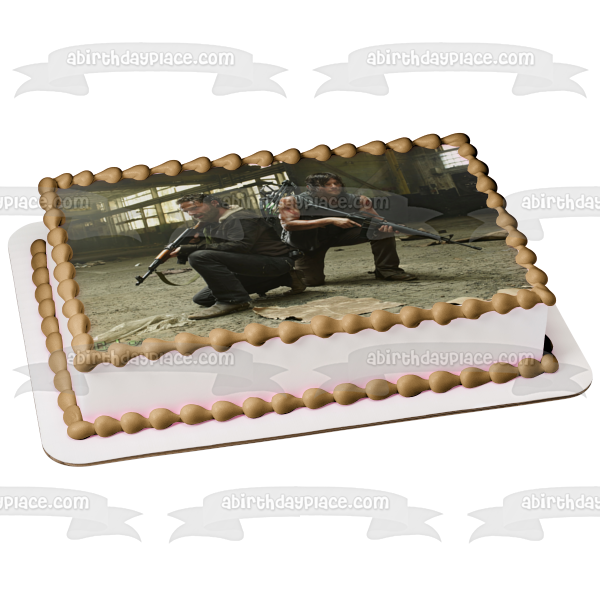 The Walking Dead Rick Grimes Daryl Dixon Edible Cake Topper Image ABPID04038