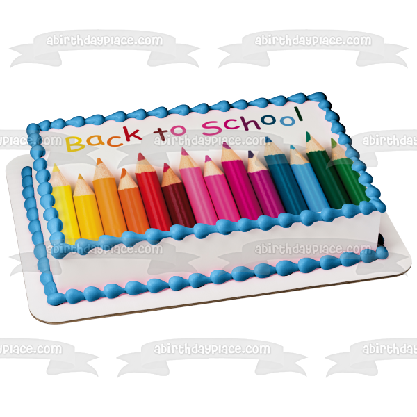 Back to School Colored Pencils Edible Cake Topper Image ABPID04076