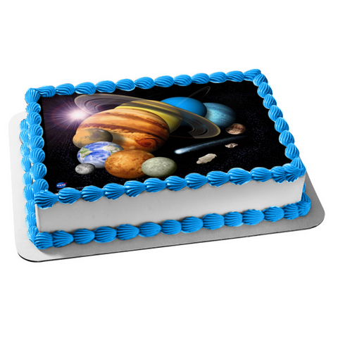Solar System Planets Ring Sun Space Edible Cake Topper Image ABPID04194