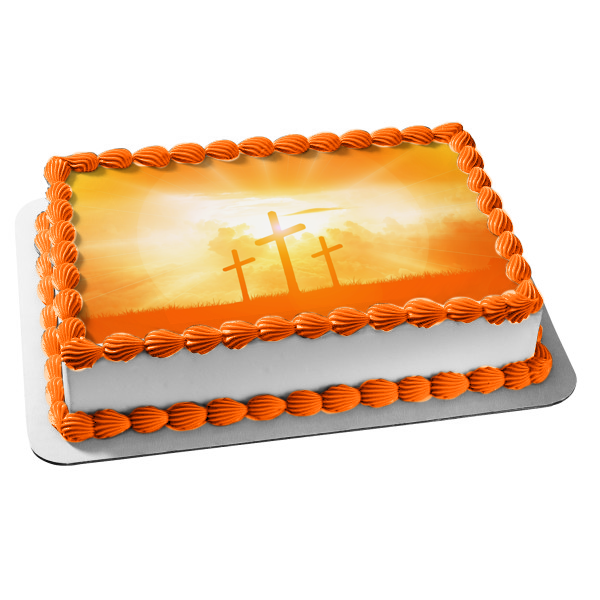 Easter Cross Crucifixion Calvary Golgotha Jesus Christianity Resurrection Edible Cake Topper Image ABPID53542