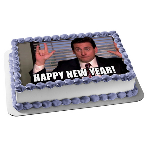 The Office Happy New Year Michael Scott Edible Cake Topper Image ABPID53555