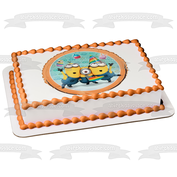 Minions Despicable Me Illumination Stuart Dave Kevin Edible Cake Topper Image ABPID04240
