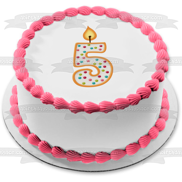 Number 5 Candle Birthday Edible Cake Topper Image ABPID04272
