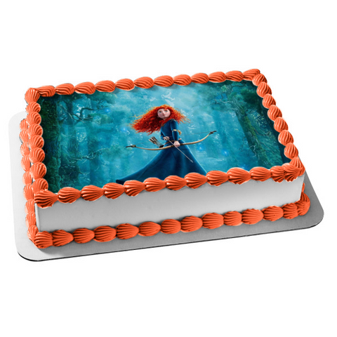 Disney Brave Movie Merida Forest Trees Bow Arrow Edible Cake Topper Image ABPID04424
