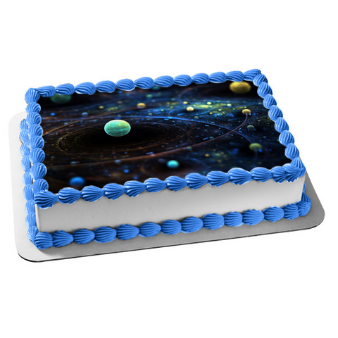Outer Space Planets Orbits Edible Cake Topper Image ABPID04471