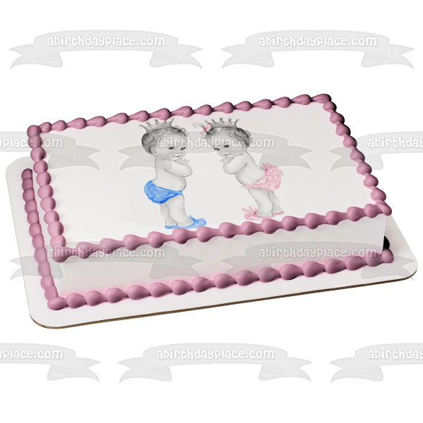 Prince and Princess Baby Boy and Girl Edible Cake Topper Image ABPID04484
