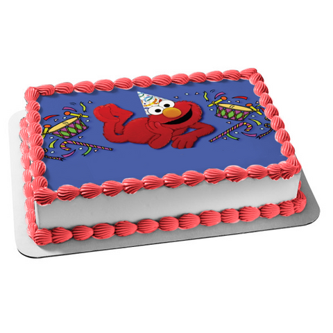 Sesame Street Elmo Party Hat Drums Edible Cake Topper Image ABPID04556