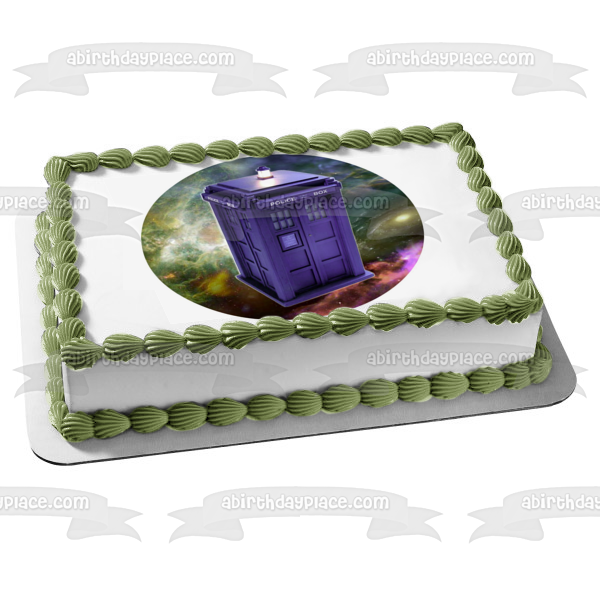 Doctor Who Tardis Space Background Police Box Edible Cake Topper Image ABPID04661