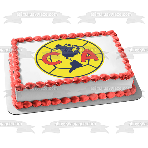 Club América Professional Football Club Mexico Soccer Logo Edible Cake Topper Image ABPID04745