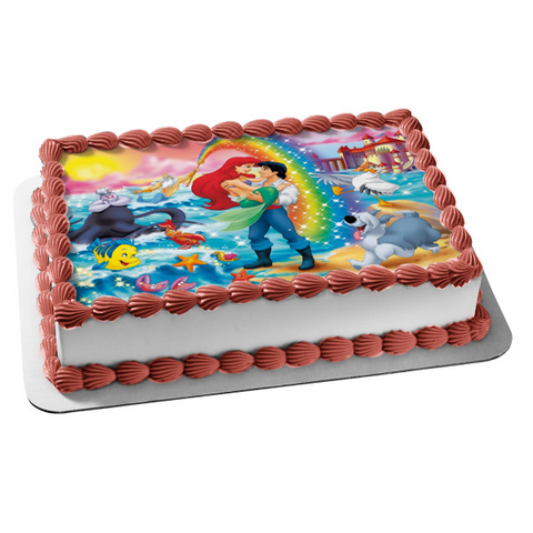 Disney the Little Mermaid Ariel Eric Edible Cake Topper Image ABPID04761