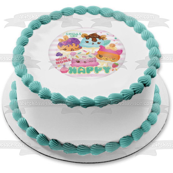 Num Noms Smells Like Happy Edible Cake Topper Image ABPID04800