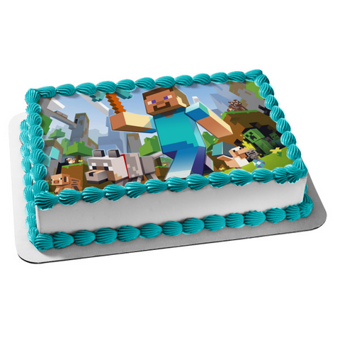 Minecraft Steve Diamond Pickaxe Wolf Creeper Edible Cake Topper Image ABPID04862