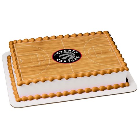 Toronto Raptors Logo Basketball Court Professional Sports Edible Cake Topper Image ABPID04901