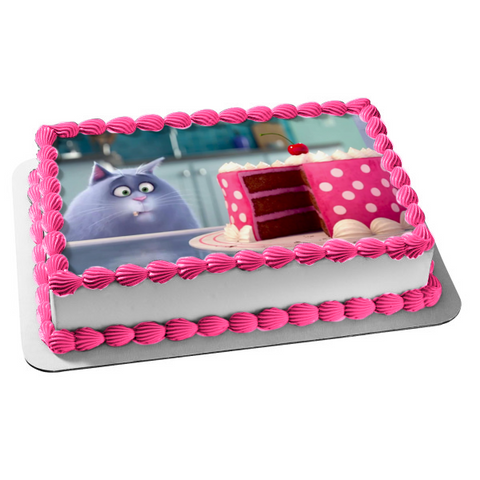 The Secret Life of Pets Happy Birthday Chloe Pink Birthday Cake Edible Cake Topper Image ABPID04916