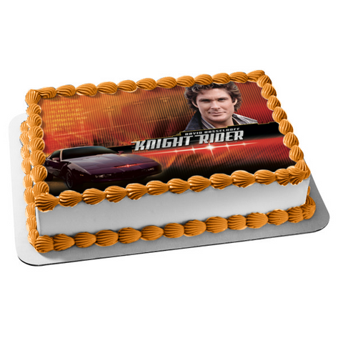 Knight Rider David Hasselhoff Car Red Background Edible Cake Topper Image ABPID04964