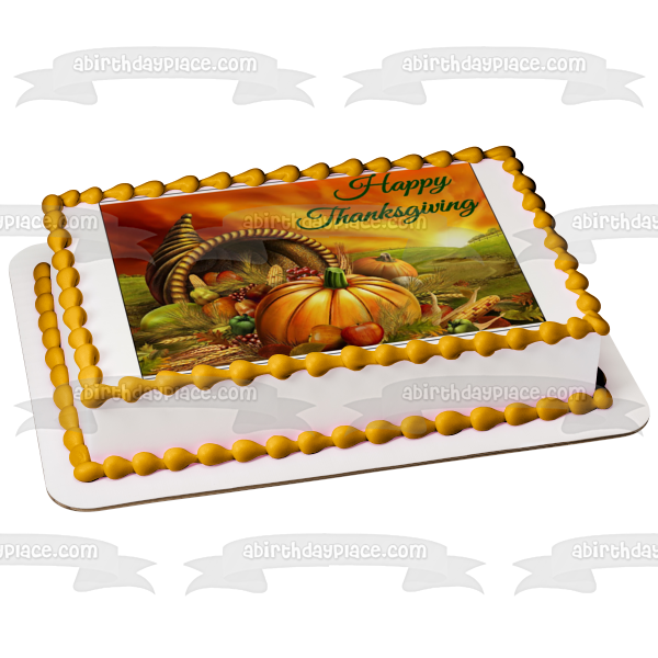 Harvest Happy Thanksgiving Pumpkin Grapes Apples Edible Cake Topper Image ABPID05066