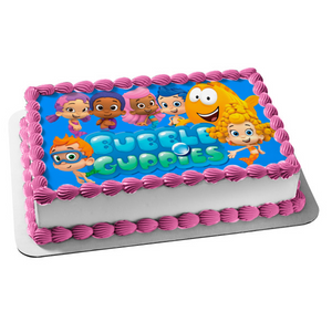 Bubble Guppies Logo Log Gil Molly Deema Goby Oona Nonny Edible Cake Topper Image ABPID05086
