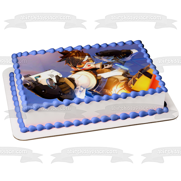 Overwatch Trace Time Jumping Pulse Pistols Edible Cake Topper Image ABPID05146
