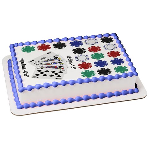 Poker Playing Cards Chips Edible Cake Topper Image ABPID05213
