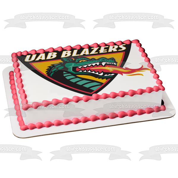 University of Alabama Birmingham Logo Blazers Dragon Edible Cake Topper Image ABPID05376